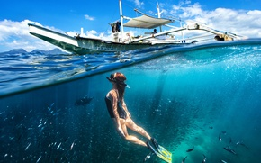 Picture sea, girl, the ocean, boat, under water, over the water, split