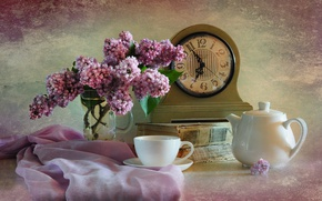 Wallpaper book, watch, lilac, still life, Cup