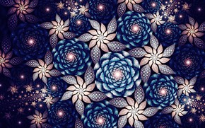 Picture flowers, abstraction, patterns, fractals, graphics