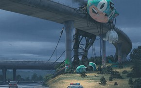 Picture bridge, track, something, giant, cars, the mascot