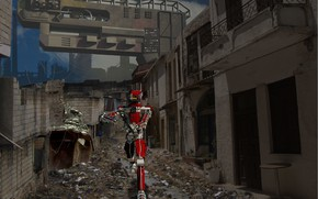 Picture robot, ruins, Xperiment, pistol building kreola