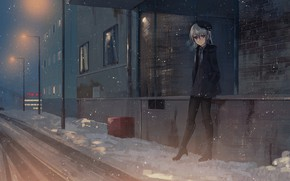 Picture winter, girl, snow, street