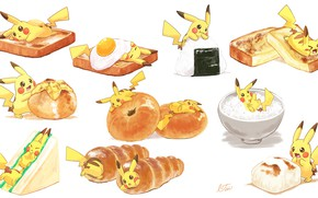 Picture food, art, Pikachu, pokemon, Pikachu