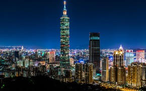 Picture China, building, panorama, China, Taiwan, night city, Taipei, skyscraper, Taiwan, Taipei, Taipei 101, Taipei 101, …