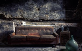 Picture background, sofa, bottle
