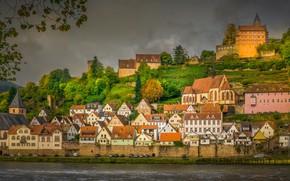 Wallpaper Hesse, river, building, autumn, Hirschhorn, Hisar, Hesse, Germany, The Neckar River, home, Neckar River, Germany