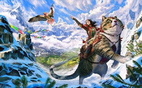 Picture cat, mountains, bird, woman, Journey's Start