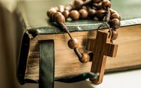 Wallpaper cross, Book, beads, cross, the Bible, beads, Book, Bible