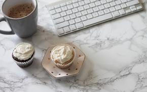 Picture coffee, keyboard, coffee cup, cupcake, cupcakes, keyboard, marble