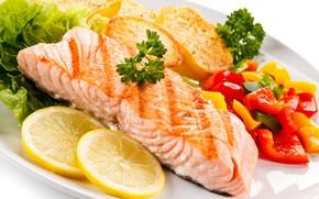 Picture lemon, fish, pepper, vegetables