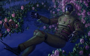 Wallpaper costume, fins, space, fantasy, robot, roses, cyborg, art, flowers, Soma