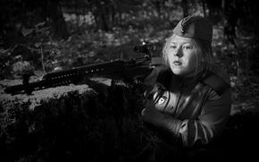 "Wallpaper sniper, Guard, photo, The second world, optics, girl, WWII, ""Light"", black and white, SVT-40, war"