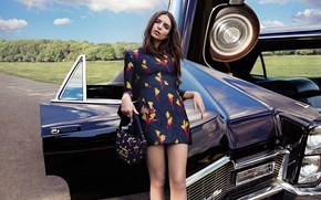 Picture auto, girl, pose, style, figure, dress, Emily Ratajkowski