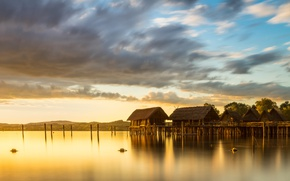 Picture the sky, clouds, light, landscape, sunset, nature, lake, dawn, hills, shore, lighting, houses, Bungalow, pond, …