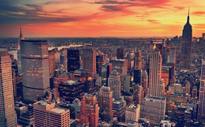Picture city, the city, skyscrapers, the evening, architecture, USA, landscape, clouds, usa, architecture, skyscrapers