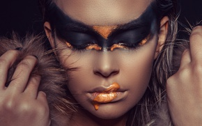 Picture girl, face, style, model, paint, hands, Valeria Zankevic, Andreas-Joachim Lins