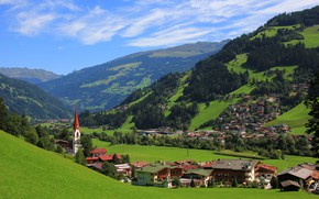 Picture greens, summer, the sky, the sun, clouds, mountains, field, home, Austria, valley, forest, meadows, Zillertal