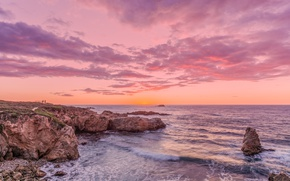 Picture sea, sunset, shore, beach, sea, sunset, seascape, beautiful, purple