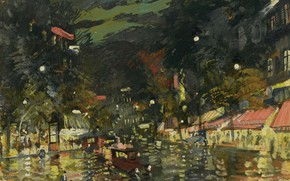 Picture picture, the urban landscape, Konstantin Korovin, The Boulevard At Night. Paris