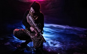 Wallpaper face, background, male, weapons
