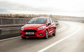 Picture red, Ford, Fiesta, Sport, hatchback, 2017