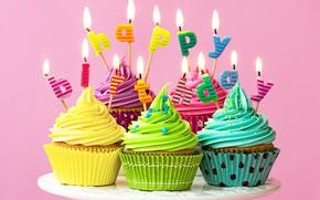 Wallpaper candles, colorful, rainbow, cake, cream, Happy Birthday, colours, cupcake, celebration, cupcakes, cream, decoration, candle, Birthday