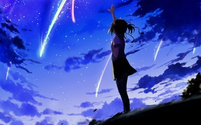 Picture the sky, the evening, anime, art, girl, Kimi no VA On, Your name