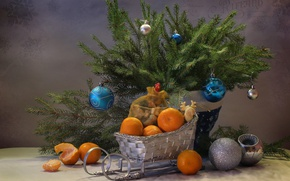 Wallpaper toys, spruce, sleigh, tangerines