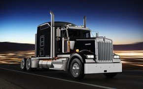 Wallpaper tractor, Kenworth, black, Icon 900, special model W900L, movement, chrome, road, truck
