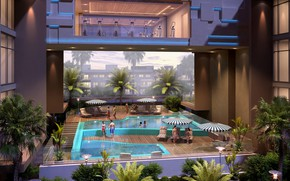 Picture palm trees, people, MODERN APARTMENT, pool night, SWIMMING POOL