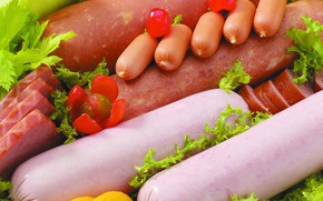 Picture greens, sausage, sausage, ham