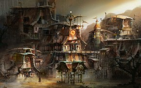 Picture mountains, home, buildings, piling up, steam punk town concept