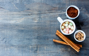 Picture hot, wood, cup, chocolate, marshmallow