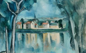 Picture trees, landscape, home, picture, Maurice de Vlaminck, The city by the lake