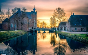 Picture trees, bridge, castle, dawn, home, channel, Netherlands, Cannenburg Castle
