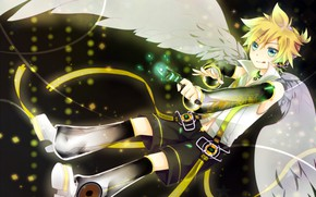 Picture gun, angel, anime, art, Vocaloid, Vocaloid, Len