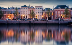 Picture lights, home, channel, Netherlands, cars, Dordrecht