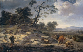 Wallpaper Ian Vanants, tree, oil, picture, Landscape with Cattle