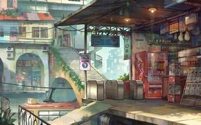 Picture street, home, Japan, ladder, tram, platform, shop, stop, products, deserted city