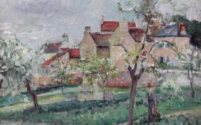 Picture landscape, house, picture, garden, Camille Pissarro, Flowering Plums. PONTOISE