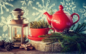 Wallpaper Holidays, Branches, Kettle, Candles, Cinnamon, New Year