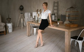 Wallpaper Ksenia Kokoreva, shoes, is, makeup, at the table, beauty, Sergey Fat, brown hair, pose, model, ...