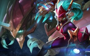Picture girl, space, dragon, art, league of legends, shyvana, moba, Half-Dragon, ranger galaxy shyvana