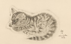 Picture eyes, kitty, thought, 1929, Tsuguharu Foujita, The Book Of Cats
