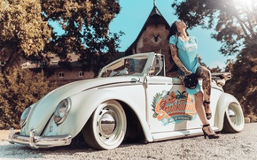 Picture machine, girl, pose, style, mood, tattoo, convertible, car, Volkswagen Beetle