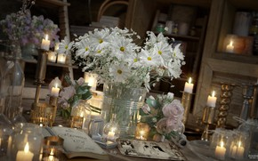 Picture flowers, photo, candles, flask, A PROMISE OF LOVE
