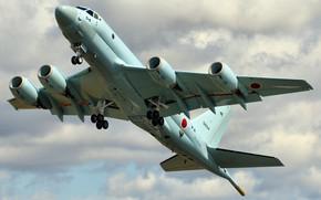 Wallpaper Kawasaki, military, the sky, the rise, the plane, flight, Honda P1