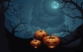 Picture the sky, trees, night, holiday, pumpkin, Halloween