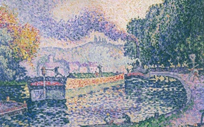 Picture landscape, picture, Paul Signac, pointillism, Tow. Canal in Samois