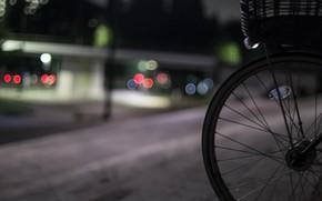 Picture night, bike, the city, lights, street, bokeh